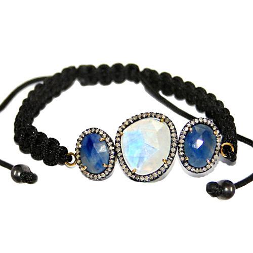 Macrame Pave Diamond Gemstone Bracelet