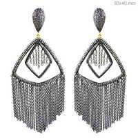 Sterling Silver Diamond Tassel Earrings