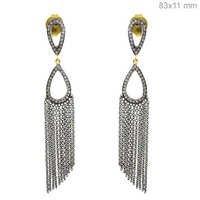 Silver Diamond Chain Chandelier Earrings