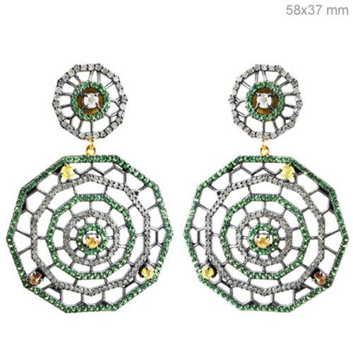 Spider Web Tsavorite Pave Diamond Earrings