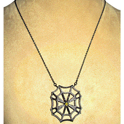 Sterling Silver Diamond Pave Spider Web Necklace