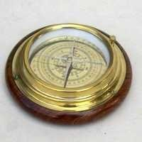 Compass with wood base