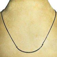 925 Sterling Silver Diamond Half Moon Necklace