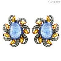 Diamond Gemstone Stud Earrings