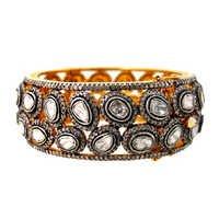 Rosecut Diamond Studded Gold Bangle