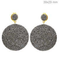 Silver Gold Pave Diamond Disc Earrings