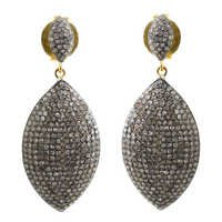 Gold Pave Diamond Marquise Dangle Earrings