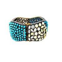 Turquoise Pearl Diamond Silver Gemstone Bangle