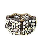Pave Diamond Pearl Gemstone Bangle