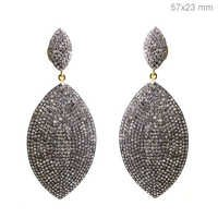 Gold Diamond Pave Silver Dangle Earrings