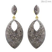 Marquise Gold Silver Pave Diamond Earrings