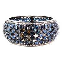 Blue Sapphire Gold Diamond Silver Gemstone Bangle