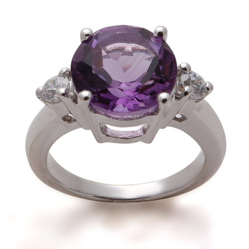 engagement silver ring, amethyst round cut elegant jewelry
