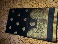 Exclusive Black Raw Silk Saree Floral Zari Butta
