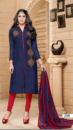 Blue Georgette Lovely Straight Suit