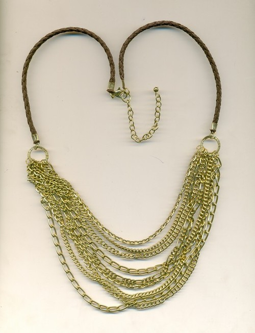 metal leather combo Necklace