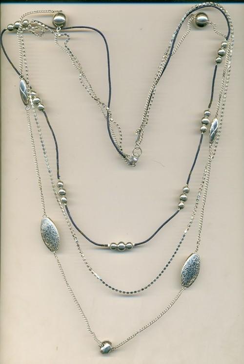 three metal chain  design Necklace