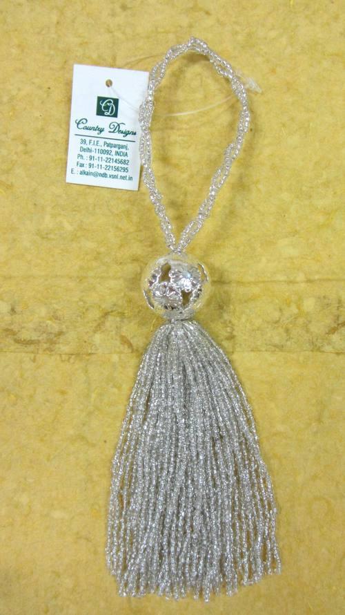 glass beads metal combo  tassel