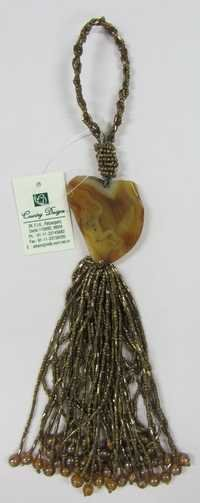 stone glass beads tassel