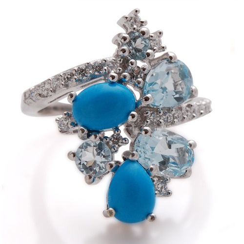 Turquoise jewelry supplier, multi stone ring design