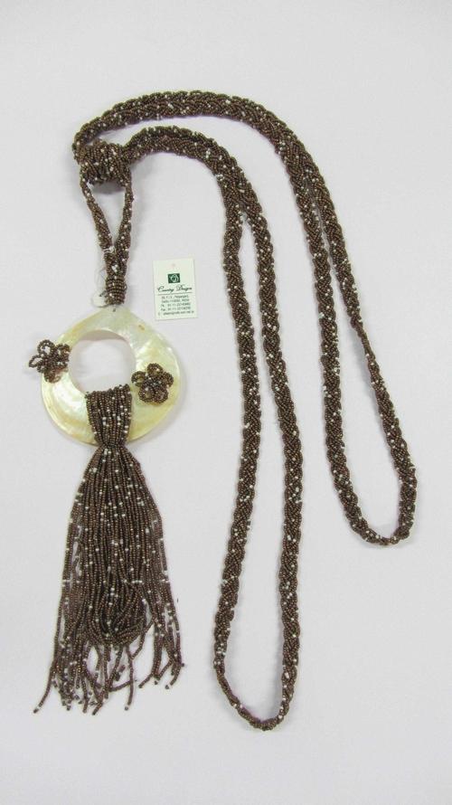 glass beads sea shell combo  tie back