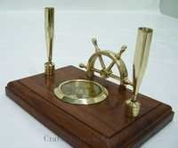 Pen Holder With Compass And Shipwheel