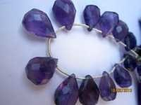 Amethyst Faceted almond beads Gemstone