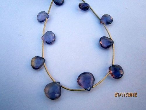Apatite  faceted Briolettes Gemstone beads