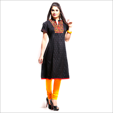 Black Chinese Collar Kurta