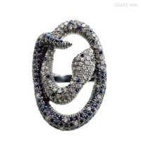 Diamond Blue Sapphire Studded Silver Vintage Ring