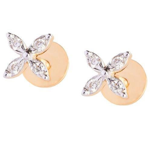 Delicate Daily Wear 4 Petal Diamond Earring