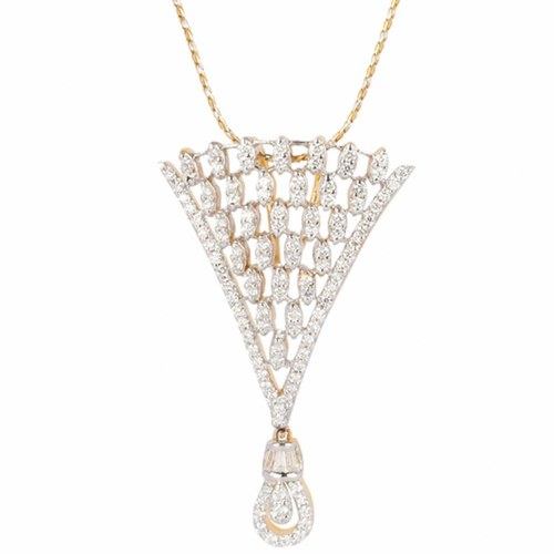 Stylish 'v' shape diamond pendent