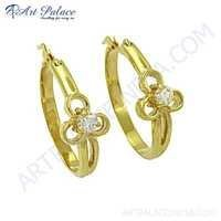 New Fashionable Cubic Zirconia Gemstone Silver Gold Plated Earrings