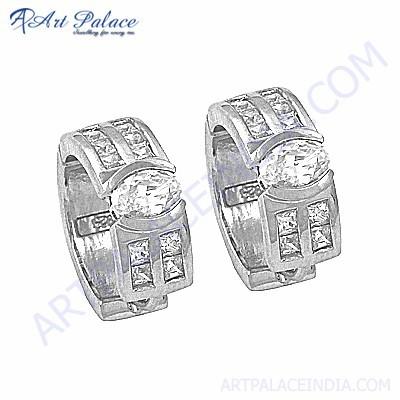 Hot Selling Cubic Zirconia Gemstone Silver Earrings