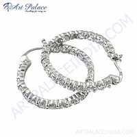 Beautiful Cubic Zirconia Gemstone Silver Earrings