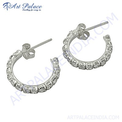 New Extra Shine Cubic Zirconia Gemstone Silver Earrings