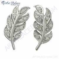 Leaf Design Cubic Zirconia Silver Earrings