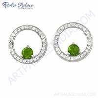 Pretty Cubic Zirconia & Peridot Zircon Gemstone Silver Earrings