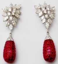 fancy drop earrings in white gold jewelry, trendy earring designs for girl and women