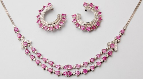Two line necklace and earring set in white gold