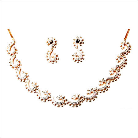 partywear diamond earring and necklace set for women, 18 karat  solid gold diamond studded indian