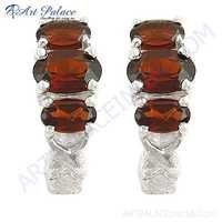 Famous Designer Garnet Gemstone Silver Earrings,