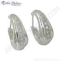 Trendy Charm Cubic Zirconia Gemstone Silver Earrings