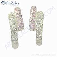 New Arrival Cubic Zirconia & Pink Cubic Zirconia Gemstone Silver Earrings