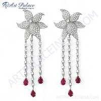 Rocking Flower Style Cubic Zirconia & Red Cubic Zirconia Gemstone Silver Earrings