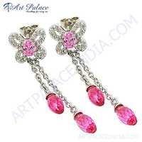 Feminine Unique Style Cubic Zirconia & Pink & Red Cubic Zirconia Gemstone Silver Earrings