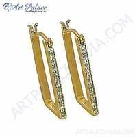 Party Wear Designer Cubic Zirconia Gemstone Silver Gold Plated Earrings
