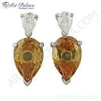 Handmade Design Cubic & Pitch Zirconia Gemstone Silver Earrings