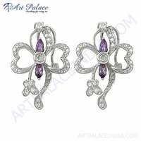 Delicate Design Amethyst & Cubic Zirconia Gemstone Silver Earrings,
