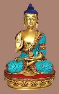 BUDDHA SITTING B/HAND W/ STONE WORK